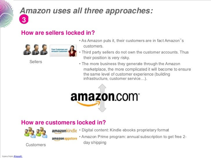 Amazon uses all three approaches:                  3 lock-in                 How are sellers locked in?                   ...