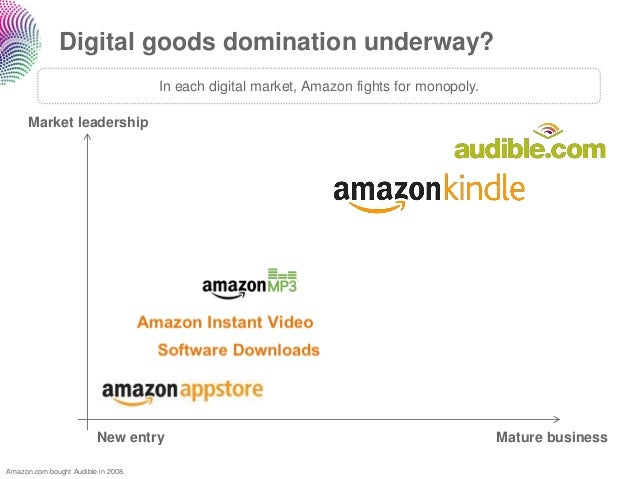 Digital goods domination underway?                                     In each digital market, Amazon fights for monopoly....