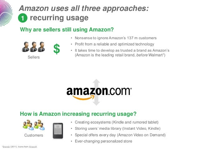 Amazon uses all three approaches:                  1 recurring usage                   Why are sellers still using Amazon?...