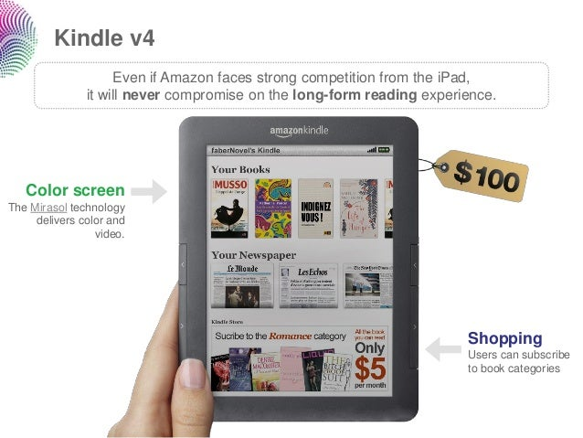 Kindle v4                    Even if Amazon faces strong competition from the iPad,               it will never compromise...
