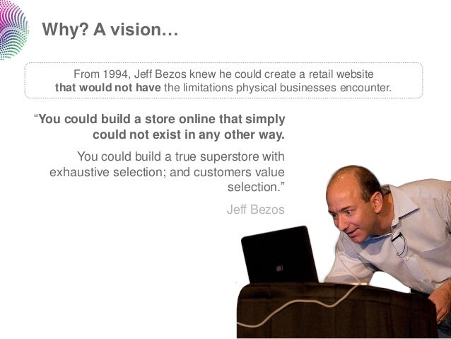 Why? A vision…      From 1994, Jeff Bezos knew he could create a retail website   that would not have the limitations phys...
