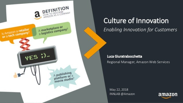 Culture of Innovation Enabling Innovation for Customers Luca Giuratrabocchetta Regional Manager, Amazon Web Services May 2...