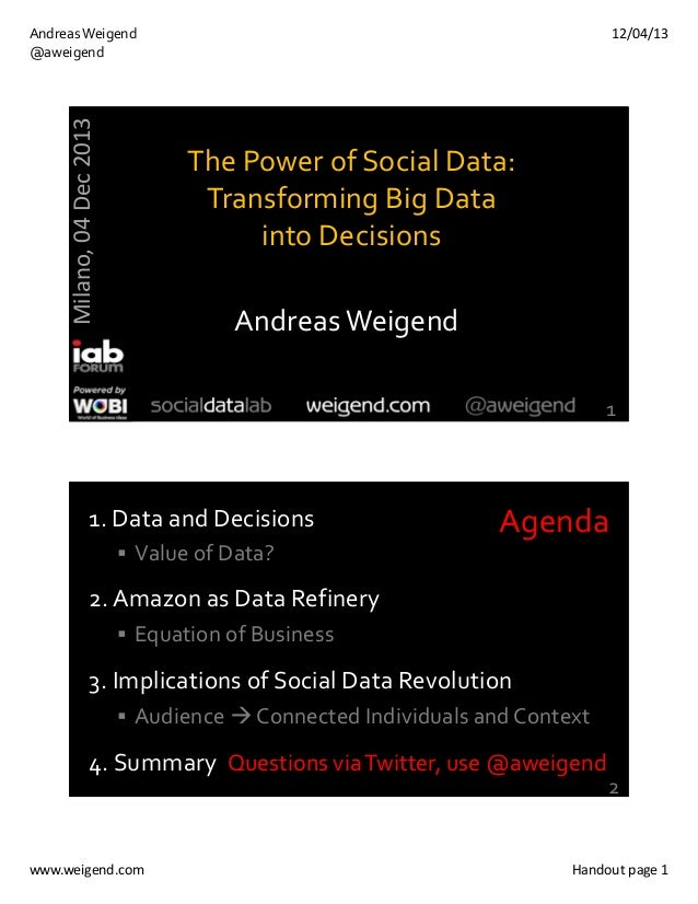 12/04/13  Milano, 04 Dec 2013  Andreas Weigend @aweigend  The Power of Social Data:  Transforming Big Data  into Decisions...