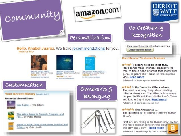 Personalization Customization Ownership & Belonging Co-Creation & Recognition