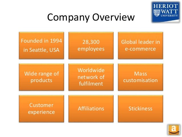 Company Overview Founded in 1994 in Seattle, USA 28,300 employees Global leader in e-commerce Wide range of products World...