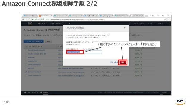 Amazon Connect環境削除⼿順 2/2 101 削除対象のインスタンス名を⼊れ、削除を選択