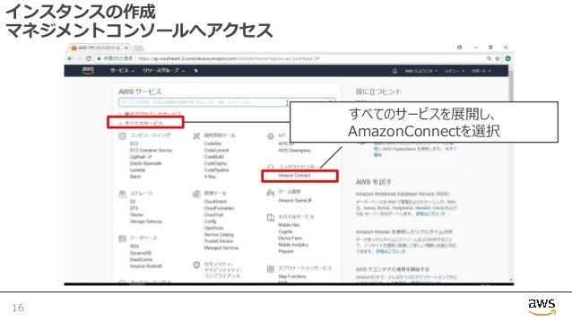 インスタンスの作成 マネジメントコンソールへアクセス 16 すべてのサービスを展開し、 AmazonConnectを選択