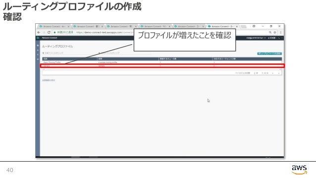 ルーティングプロファイルの作成 確認 40 プロファイルが増えたことを確認