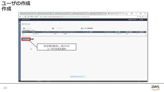 ユーザの作成 作成 45 設定値を確認し、良ければ ユーザの作成を選択