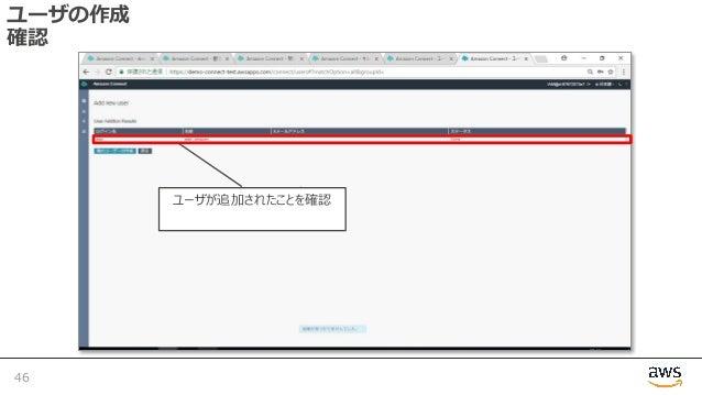 ユーザの作成 確認 46 ユーザが追加されたことを確認