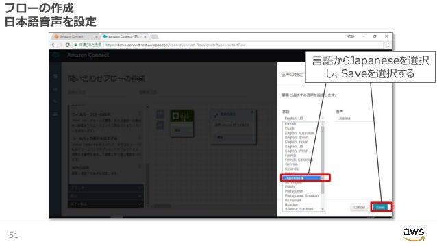 フローの作成 ⽇本語⾳声を設定 51 ⾔語からJapaneseを選択 し、Saveを選択する