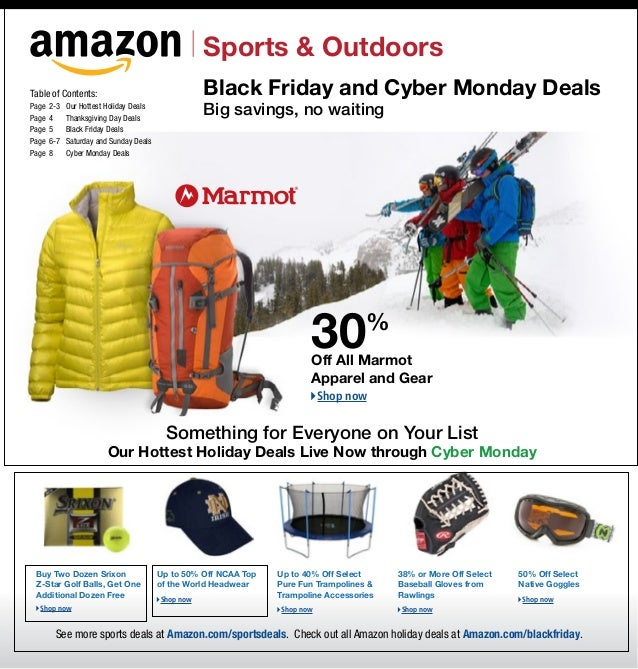 Sports & OutdoorsTable of Contents:                                  Black Friday and Cyber Monday DealsPage	 2-3	Page	 4	...