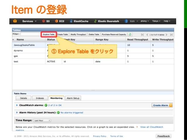 Item の登録① Explore Table をクリック