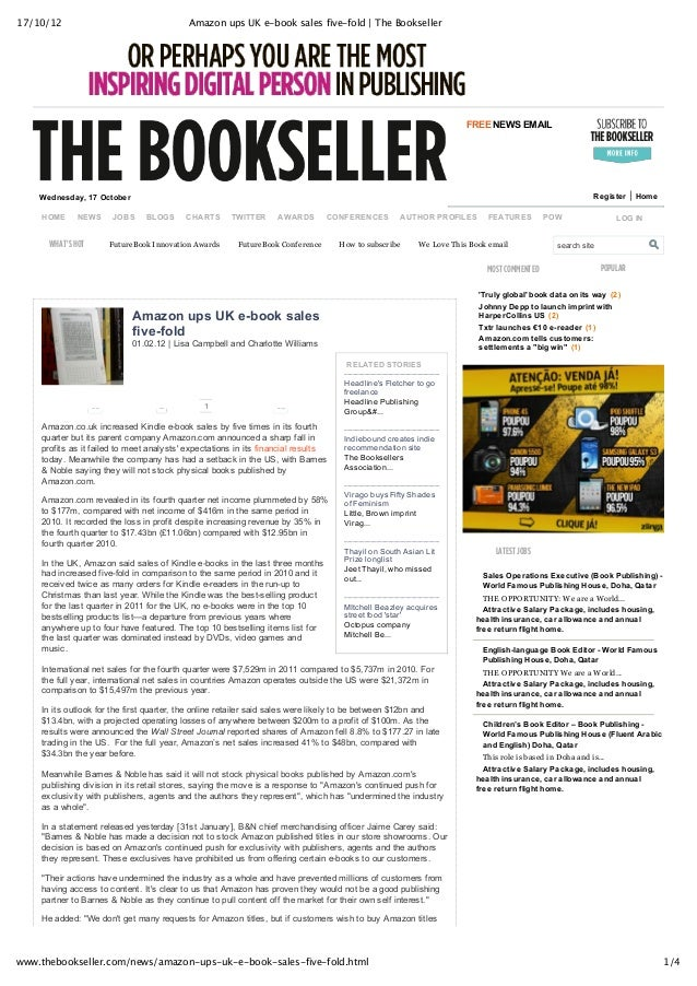17/10/12 Amazon ups UK e-book sales five-fold | The Bookseller 1/4www.thebookseller.com/news/amazon-ups-uk-e-book-sales-fi...