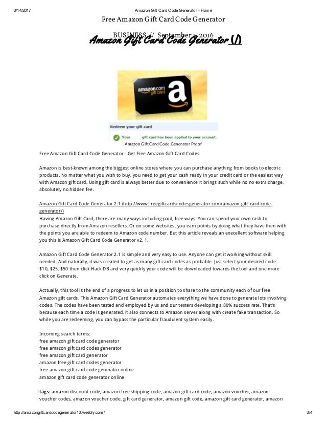 Amazon gift card code generator weebly