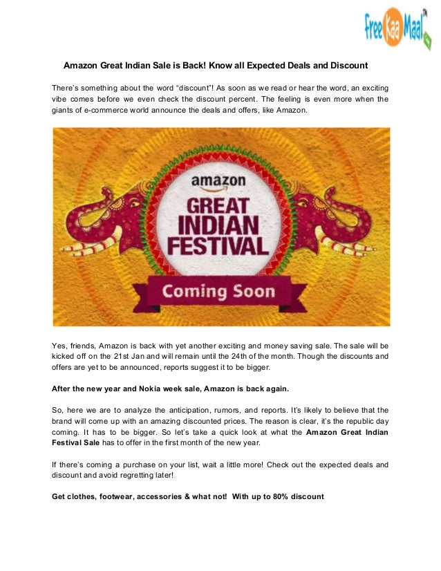 Amazon Great Indian Festival Sale- 2018