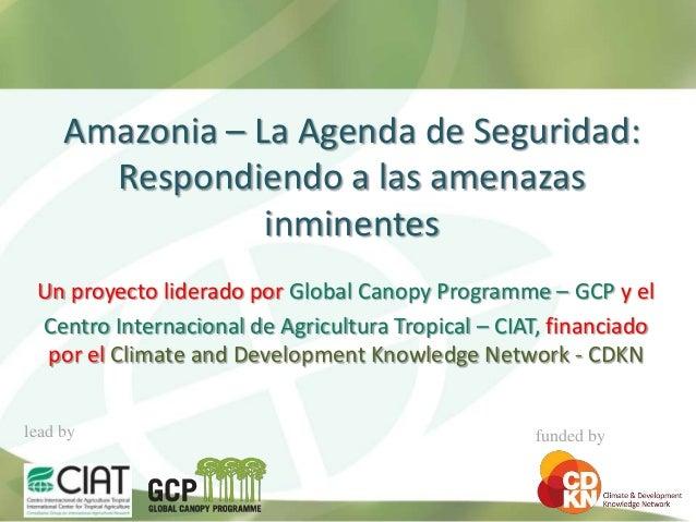 Amazonia – La Agenda de Seguridad:       Respondiendo a las amenazas                 inminentes Un proyecto liderado por G...