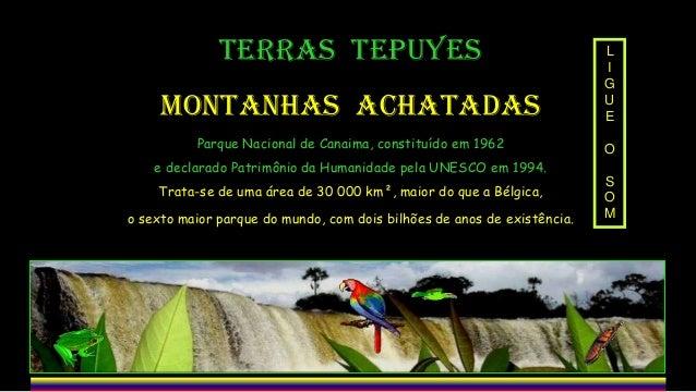 TERRAS TEPUYES  MONTANHAS ACHATADAS  L I G U E  Parque Nacional de Canaima, constituído em 1962  O  e declarado Patrimônio...