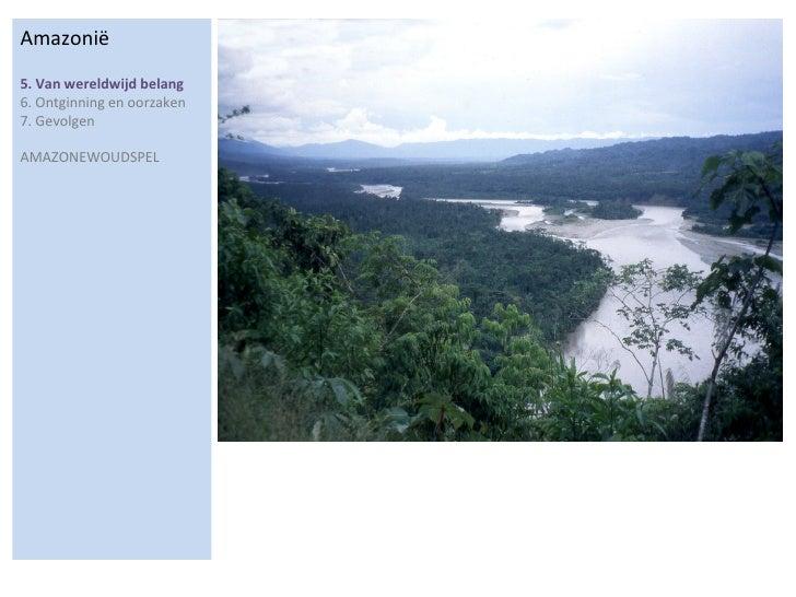Amazonië 5. Van wereldwijd belang  6. Ontginning en oorzaken 7. Gevolgen  AMAZONEWOUDSPEL