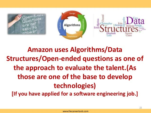 Amazon uses Algorithms/Data Structures/Open-ended questions as one of the approach to evaluate the talent.(As those are on...