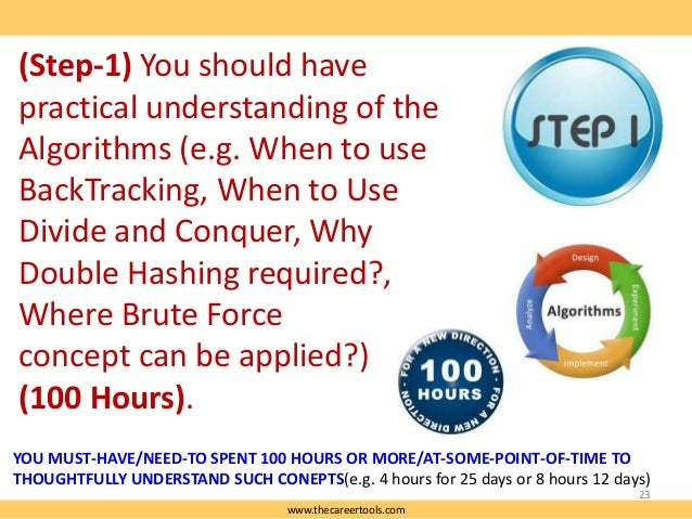 (Step-1) You should have practical understanding of the Algorithms (e.g. When to use BackTracking, When to Use Divide and ...