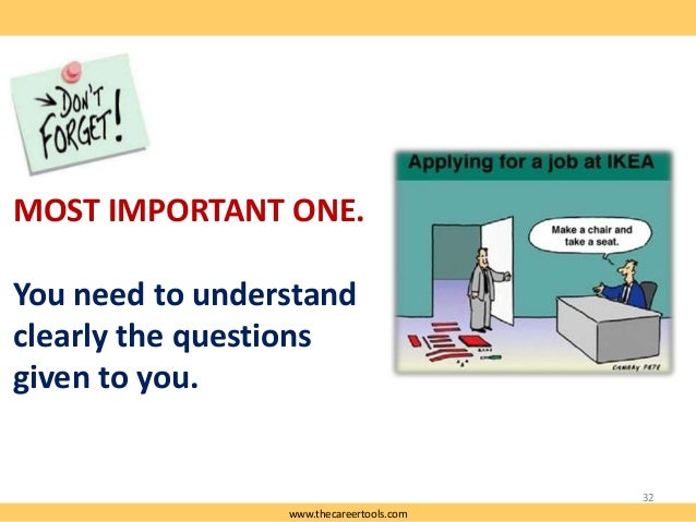 MOST IMPORTANT ONE. You need to understand clearly the questions given to you.  32 www.thecareertools.com