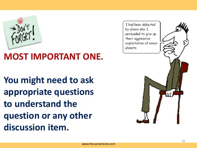 MOST IMPORTANT ONE. You might need to ask appropriate questions to understand the question or any other discussion item. w...