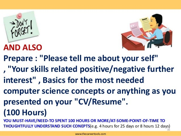 """AND ALSO Prepare : """"Please tell me about your self"""" , """"Your skills related positive/negative further interest"""" , Basics fo..."""