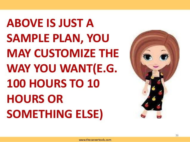 ABOVE IS JUST A SAMPLE PLAN, YOU MAY CUSTOMIZE THE WAY YOU WANT(E.G. 100 HOURS TO 10 HOURS OR SOMETHING ELSE) 36 www.theca...