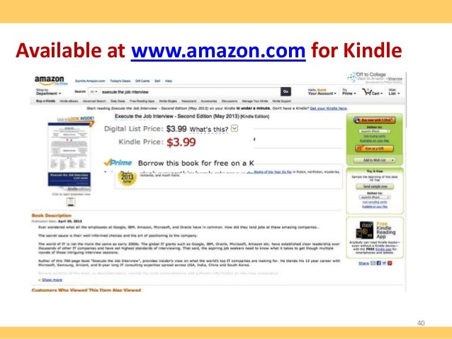 Available at www.amazon.com for Kindle  40 www.thecareertools.com