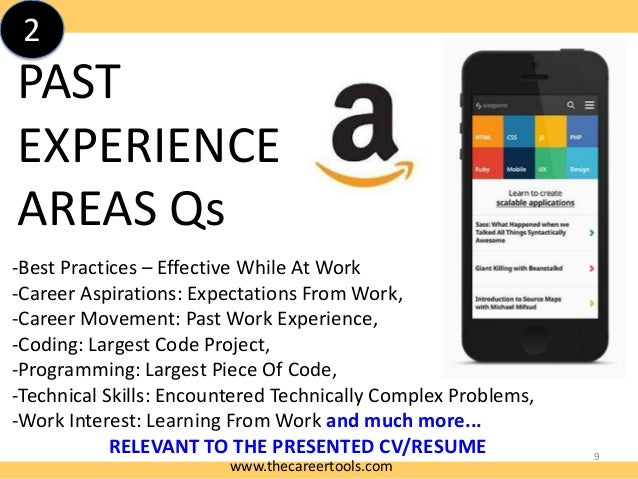 2  PAST EXPERIENCE AREAS Qs -Best Practices – Effective While At Work -Career Aspirations: Expectations From Work, -Career...