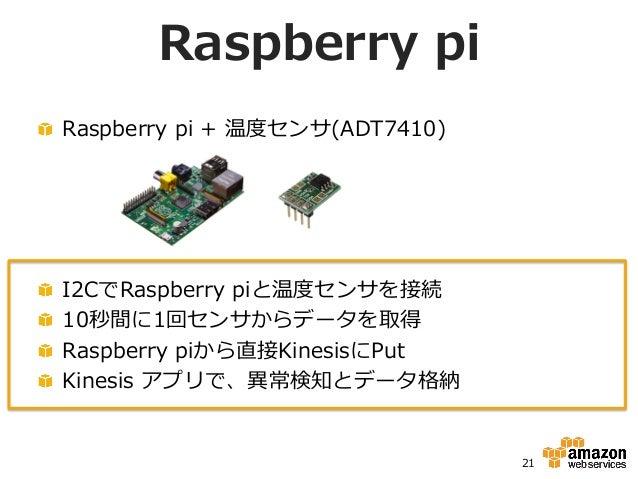 Raspberry pi !  Raspberry pi + 温度度センサ(ADT7410) 21 !  I2CでRaspberry piと温度度センサを接続 !  10秒間に1回センサからデータを取得 !  Raspberr...