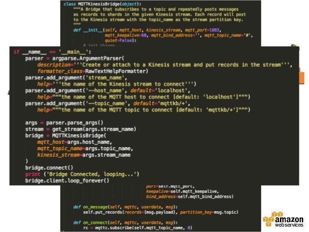 Raspberry pi +MQTT  リアルタイムダッシュボード Kinesis  App   [Real=me   ETL]   Frontend   [MQTT  Proxy]   Frontend  ...
