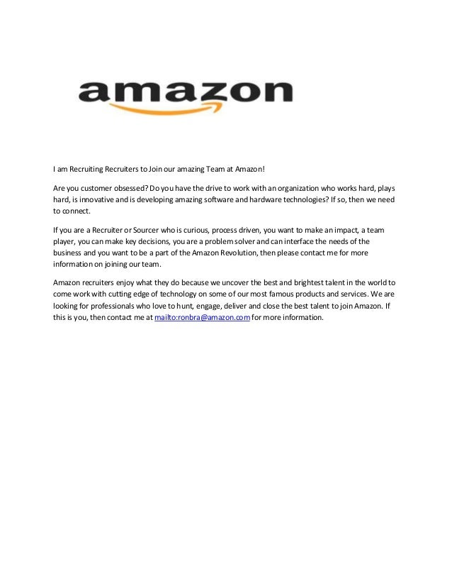 I am Recruiting Recruiters to Join our amazing Team at Amazon! Are you customer obsessed? Do you have the drive to work wi...