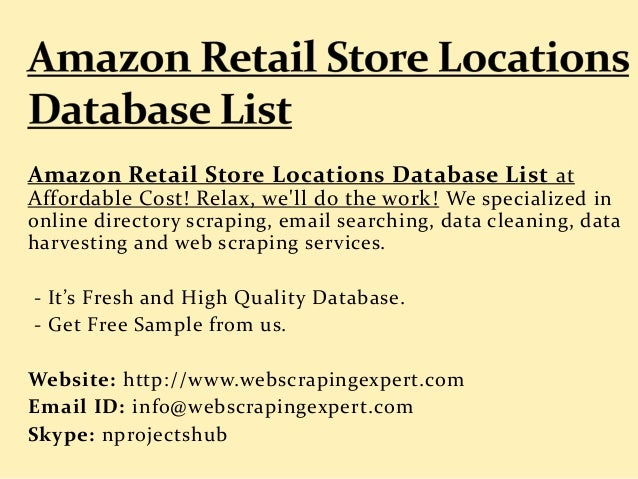 Amazon Retail Store Locations Database List