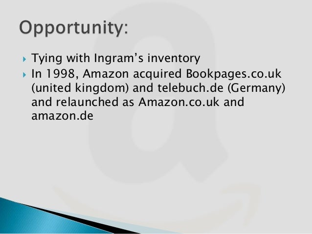 """amazon com's european distribution strategy Retailers, whose only major similarity was size: amazoncom, barnes & noble, and the borders group while originally, amazoncom obtained about 60 percent of its books from a single wholesaler, ingram, and in large part for further information, see """"amazoncom's european distribution strategy,"""" hbs no 9-605-002."""