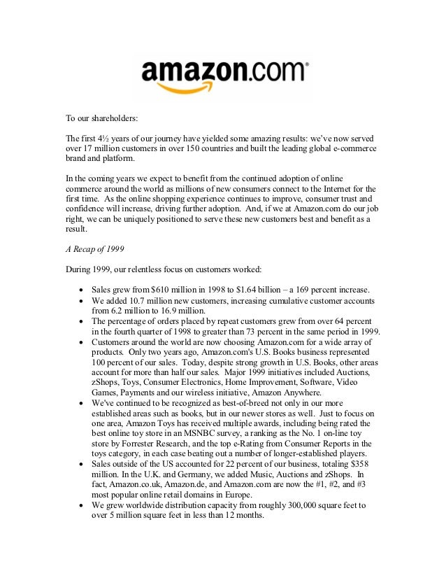 amazon letter to shareholders shareholder letters 1997 2011 10492 | amazon shareholder letters 1997 2011 11 638