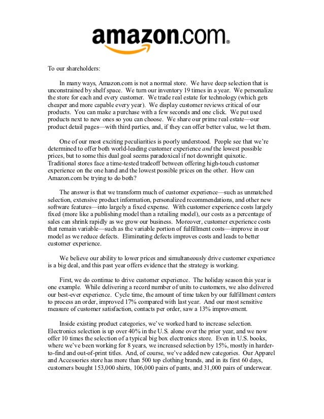 amazon letter to shareholders shareholder letters 1997 2011 10492 | amazon shareholder letters 1997 2011 22 638