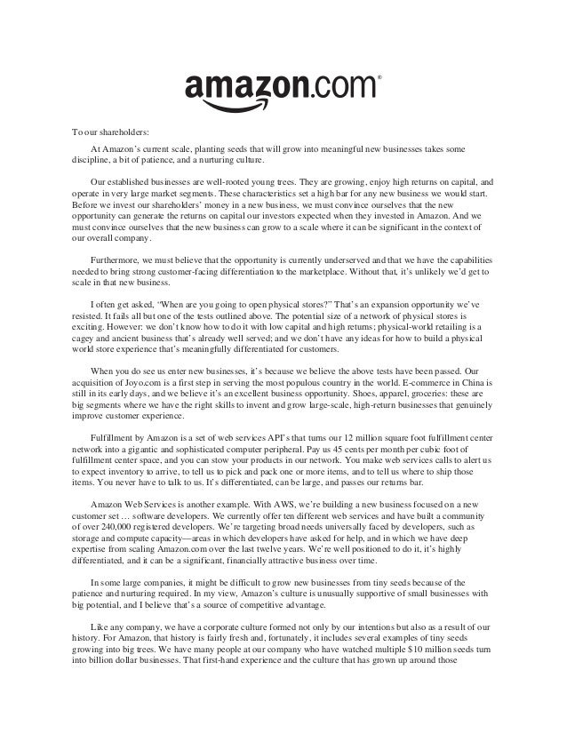 Amazon shareholder letters 1997 2011 – Letter to Shareholders Example