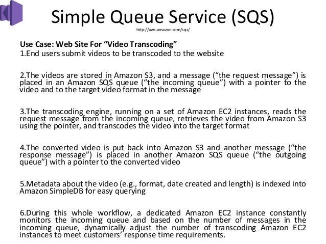 "Simple Queue Service (SQS)                                 http://aws.amazon.com/sqs/Use Case: Web Site For ""Video Transco..."