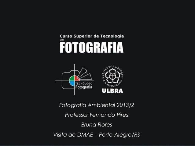 Fotografia Ambiental 2013/2 Professor Fernando Pires Bruna Flores Visita ao DMAE – Porto Alegre/RS