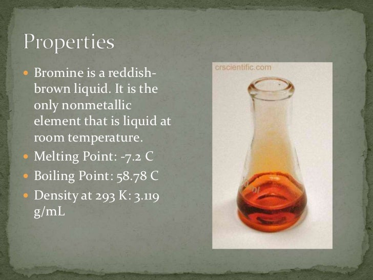 Bromine Density At Room Temperature