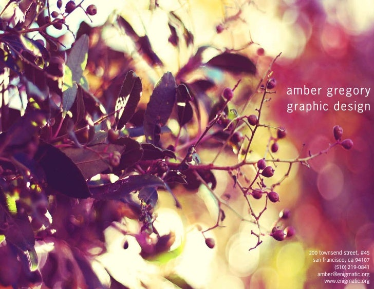 amber gregory graphic design        200 townsend street, #45     san francisco, ca 94107              (510) 219-0841      ...