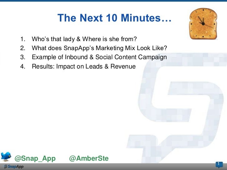 The Next 10 Minutes… 1.   Who's that lady & Where is she from? 2.   What does SnapApp's Marketing Mix Look Like? 3.   Exam...