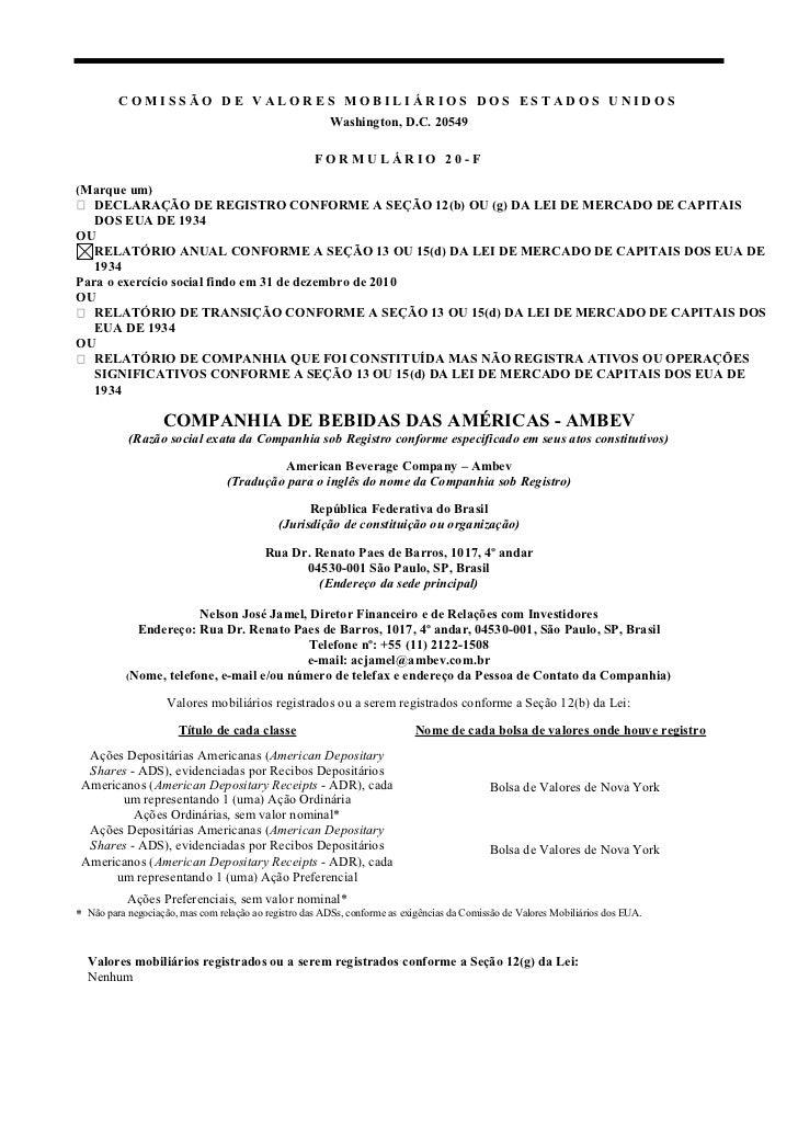 COMISSÃO DE VALORES MOBILIÁRIOS DOS ESTADOS UNIDOS                                                        Washington, D.C....