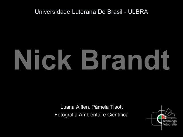 Universidade Luterana Do Brasil - ULBRA Nick Brandt Luana Alflen, Pâmela Tisott Fotografia Ambiental e Científica