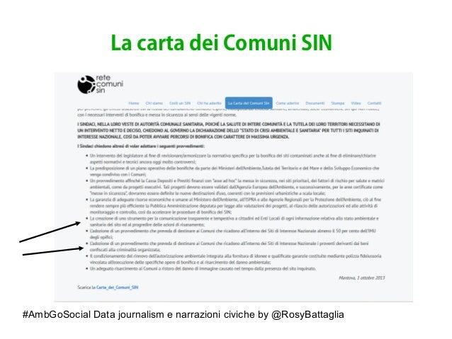 #AmbGoSocial Data journalism e narrazioni civiche by @RosyBattaglia La carta dei Comuni SIN