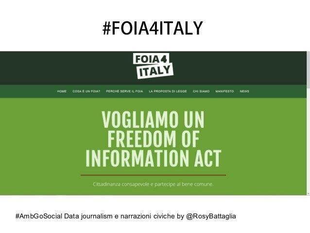 #AmbGoSocial Data journalism e narrazioni civiche by @RosyBattaglia #FOIA4ITALY