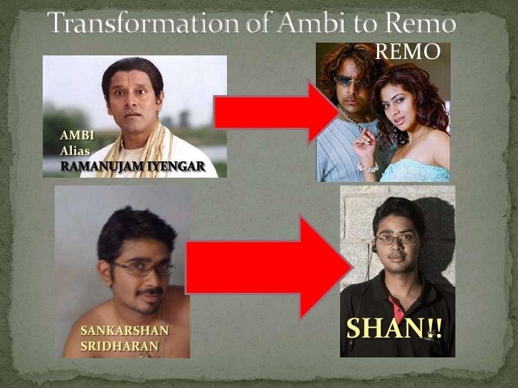 Transformation of Ambi to Remo<br />REMO<br />AMBI<br />Alias<br />RAMANUJAM IYENGAR<br />SHAN!!<br />SANKARSHAN SRIDHARAN...