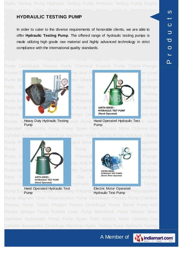 Ambica Machine Tools, Ahmedabad, Hydro Testing Pump